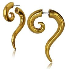 PAIR BRASS FAKE SPIRAL DROP PLUGS CHEATER EARRINGS HOOPS EXPANDERS GAUGES SILVER