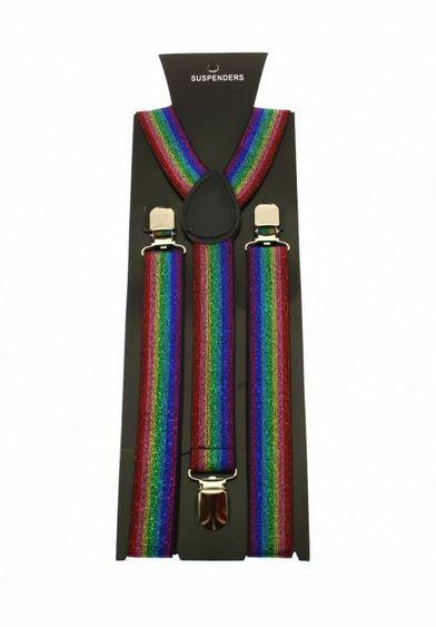 Unisex Gay Pride Glitter Rainbow Stripe Clip-On Adjustable Braces Fancy Dress