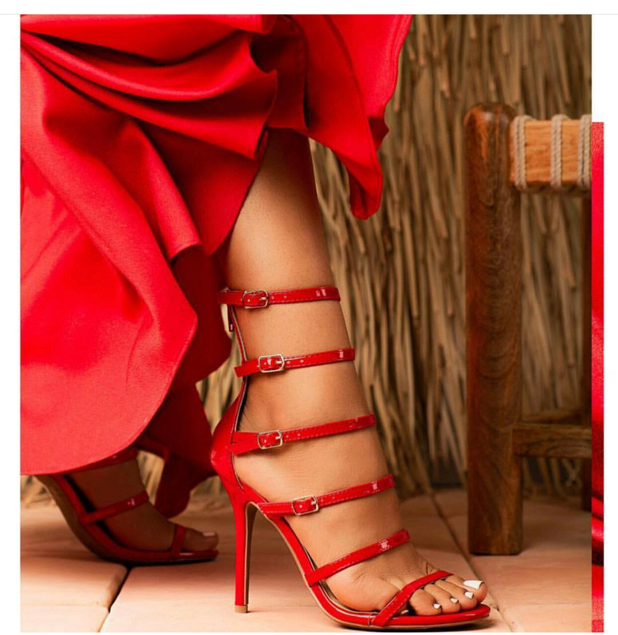 New women's Fashion  strappy  Heels Patent Red