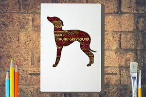Italian-Greyhound-Word-Art-Canvas-A4A3A2A1-Mothers-Day-Gift-Personalised-Option