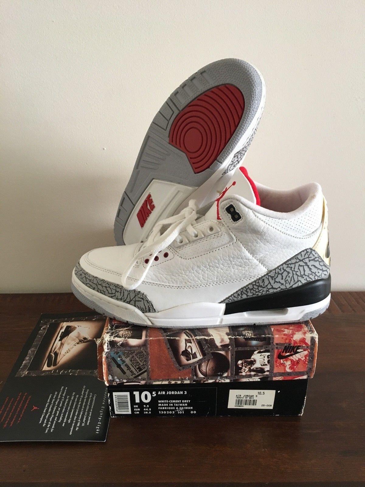 Nike Air Jordan 3 III White Cement 1994 10.5 DEADSTOCK    2011 Midsole swap