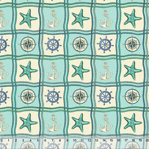 Nautical Patches Compass Home Decor Fabric Polyester 62 W Sold By The Yard Ebay