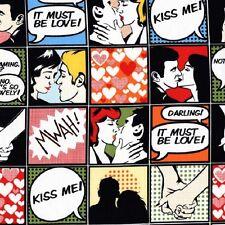 Fat Quarter Comic Strip Kiss Me Cotton Quilting Fabric - Michael Miller