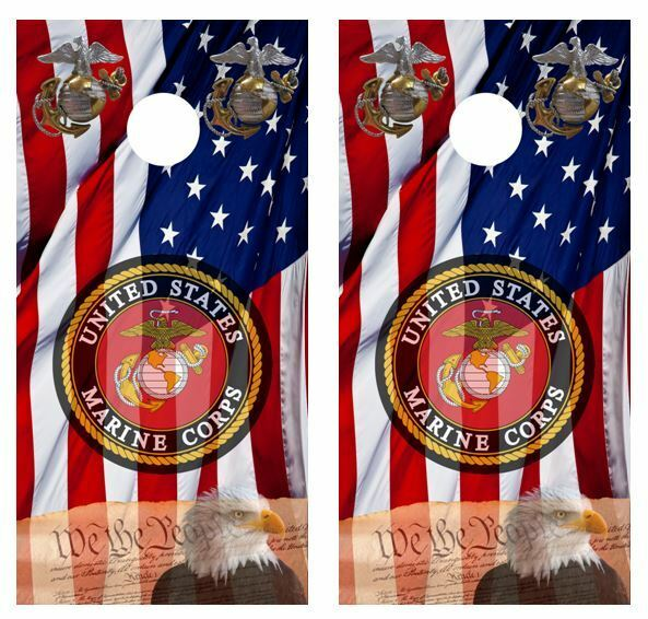 U.S. Marine Corps Patriotic Cornhole Board Wraps FREE APPLICATION SQUEEGEE