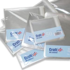 """50 x Clair sacs en cellophane 4 /""""x 4/"""" 102 mm blanc cartes de voeux Cardmaking 1019"""