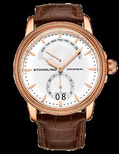 Stuhrling Men's Rose Swiss Quartz Watch Decorative Guilloche Pattern Silver Dial