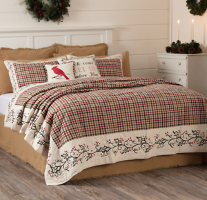 image is loading holly amp ivy 105x95 king quilt red green