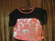 Womens/JUNIORS SIZE SMALL coral/black/metallic  CROP BLOUSE $48.00 APPLE BOTTOMS