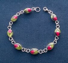 """AUTHENTIC solid 925 Sterling silver DELICATE REAL FLOWERS IN resin bracelet 7.5"""""""