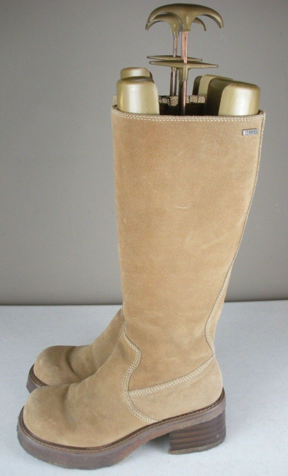 FRYE REBEL ZIP Tan Suede Leather Tall Chunky Heel Boots Women's Size 6 M - 77510