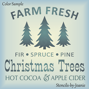 Fresh Christmas Tree.Details About Joanie Stencil Farm Fresh Christmas Trees Pine Fir Spruce Hot Cocoa Apple Cider