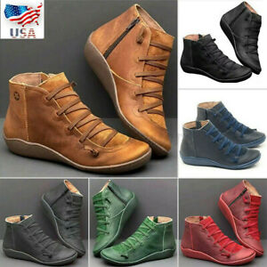 womens ladies retro arch support ankle boots casual shoes