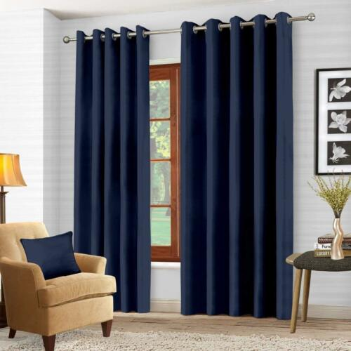 FREE TIE BACKS READY MADE THERMAL BLACKOUT CURTAINS PAIR WITH EYELET RING TOP