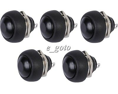 5pcs Black Mini Switch 12mm Waterproof momentary Push button Switch 250V 10A
