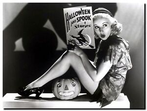 BETTY GRABLE HALLOWEEN - vintage pinup High Quality Canvas Art Print Poster A4
