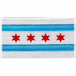 """Chicago Flag 3.5/"""" x 2.5/"""" Logo Sew Ironed On Badge Embroidery Applique Patch"""