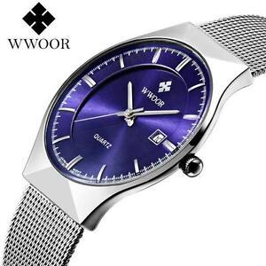 18e9830e19 WWOOR Luxury Men's Stainless Steel Date Quartz Casual Wrist Watches ...