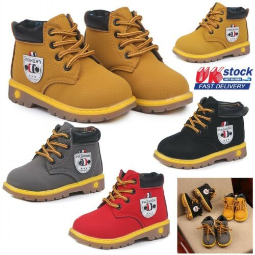 UK Kids Boys Girls Winter Martin Boots Lace-Up Retro Ankle Boots Chelsea Shoes