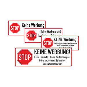 Keine Werbung Briefkasten Aufkleber Klein Gross Sticker Post Versand