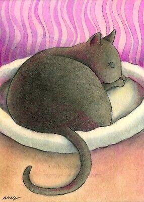 BEING CAT cats pets animals kitty kitten happiness artprint ACEO PRINT