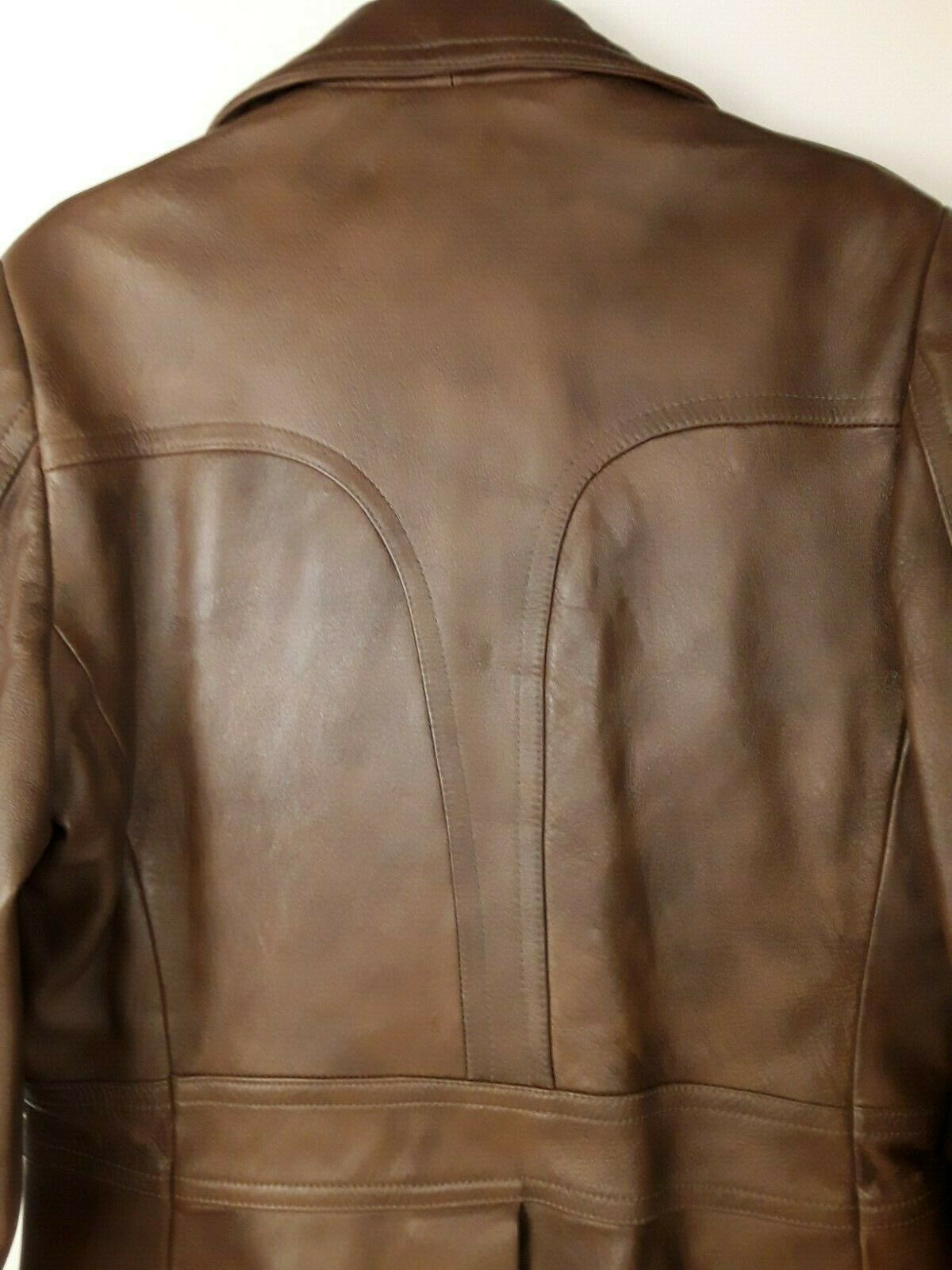 Mens Genuine Brown Leather Coat Fitted Retro 70's… - image 8