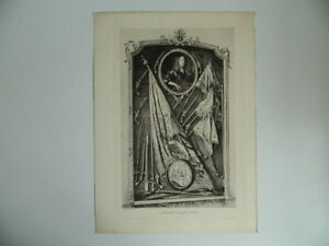 Original-Engraving-Xixth-Signed-Bela-Gyula-Krieger-The-Trophy-Of-Big-Conde-1898