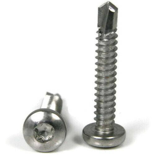 Stainless Steel Star Drive Pan Head TEK #12 Self Drilling Screws Select Size