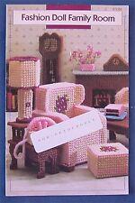 "ANNIE'S ATTIC ""Fashion Doll Family Room"" PLASTIC~CANVAS PATTERN Furniture Barbie"