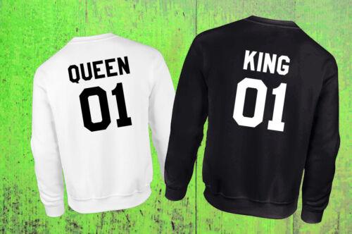 FELPA UOMO DONNA King Queen RE REGINA NUMERO PERSONALIZZAT Matrimonio Fidanzati