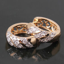 lady vogue style 18k gold Platinum filled White Topaz UNIQUE hoop earrings