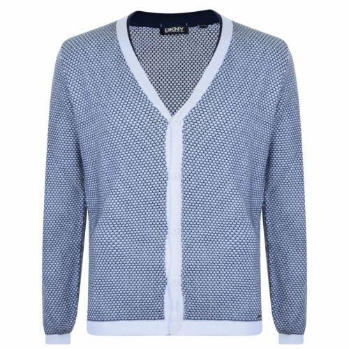 DKNY Mens Knit Cardigan Jumper Top Long Sleeve Cotton Regular Fit