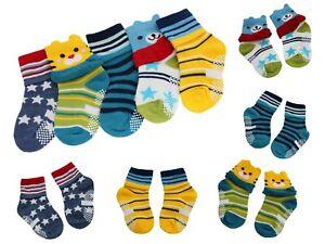 Complexé 5 Paires Garçon Fille Bébé Ours Étoiles Rayures Antidérapant Chaussettes Âge 1 2 Qualité SupéRieure (En)