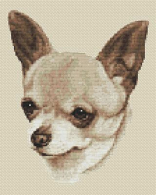 "Chihuahua Dog Cross Stitch Design (Sepia,8""x10"",20x25cm,kit or chart)"