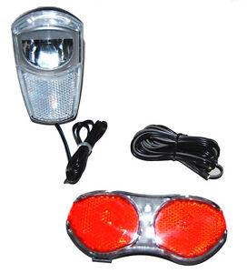 fahrrad led lichtset f r nabendynamo 35 lux frontlicht r cklicht scheinwerfer ebay. Black Bedroom Furniture Sets. Home Design Ideas