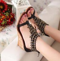 Bohemia Womens Tassels Wedge Med Heel Flip Flops Sandals Ladies Shoes Plus Size