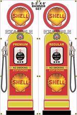 GAS PUMP SET SHELL BANNER GAS STATION SHOP GARAGE DISPLAY SIGN ART 2- 2' X 6'