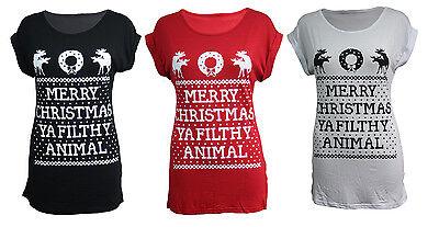 WOMENS MERRY CHRISTMAS YA FILTHY ANIMAL  UGLY  RUDE T-SHIRT  HOME ALONE XMAS TOP