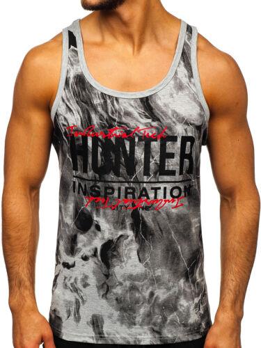 Tanktop Tee T-Shirt Muskelshirt Achselshirt Sport Motiv Herren BOLF Aufdruck
