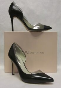 8dc2985483 Image is loading BCBG-Tricky-Black-Clear-Pointed-Toe-Heel-SIZE-