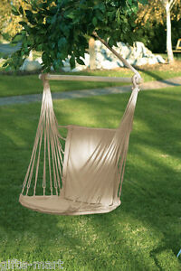 Image Is Loading White Cotton Padded Swing Hammock Hanging Outdoor Chair