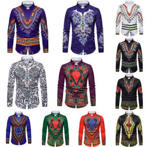Men-African-Tribal-Shirt-Dashiki-Print-Succinct-Hippie-Top-Blouse-Clothing