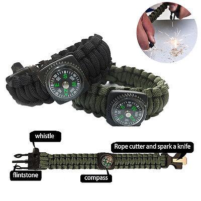 Paracord Survival Bracelet Compass/Flint/Fire Starter/Whistle Camping Gear Kit