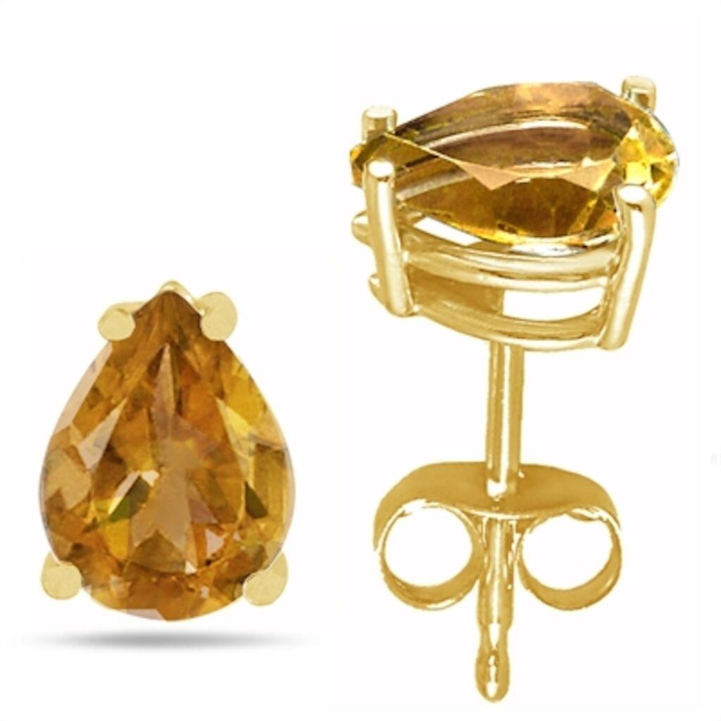 7x5 Pear Shape Citrine Earrings in 14k Yellow gold
