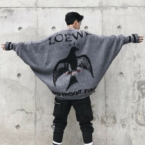 Men Winter Batwing-sleeved Sweater Loose Fit Pull Over Fashion Embroidery Bird