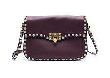 New~Valentino Turquoise 'Rockstud' Rolling Medium Burgundy Shoulder Bag~RTL$3100