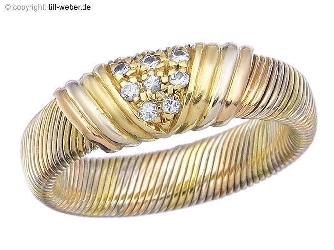 Cartier Ring Vintage Diamanten 750er gold Mehrfarbig ca.1950-60