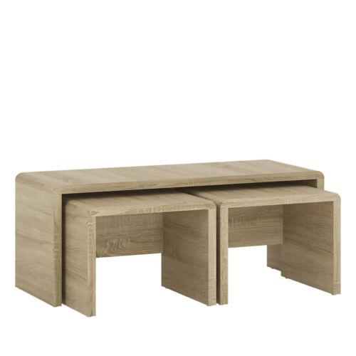 End 100cm 42cm 40cm Side Ferrer Modern Oak Effect 1 Over 2 Nest Of Tables