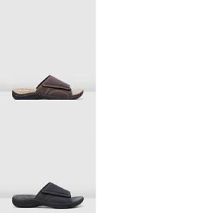 Mens-Hush-Puppies-Archie-Sandals-Slides-Slip-On-Brown-Black-Leather-Comfort-Shoe