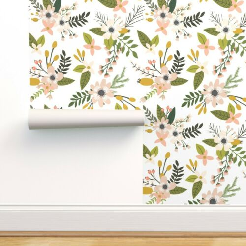 Blooms Blush Floral, Sprigs Removable Water-Activated Wallpaper Flowers