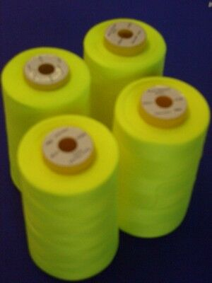 4 CONES 5000YDS FLORESCENT GREEN POLYESTER COMETA OVERLOCK SEWING MACHINETHREAD